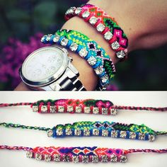 DIY Easy Rhinestone Friendship Bracelet Tutorial from Passions for Fashion here.I post a lot of DIY friendship bracelets (see here) but you...