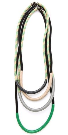 Set of 4 multi-coloured rope necklaces with dipped enamel detailing. By Orly Genger by Jaclyn Mayer.