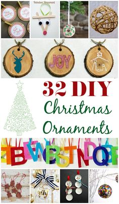 32 DIY Christmas Ornaments and crafts. Includes ideas for all ages and skill levels. www.CraftaholicsAnonymous.net