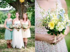 Country Wedding With Mismatched Bridesmaid Dresses - Rustic Wedding Chic