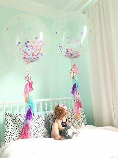 "Jumbo Confetti Balloons - Confetti Stuffed Balloons - Jumbo Balloons with Tassel Tail - 3ft Balloons - 36"" Balloons by MagnoliaBloomBtq on Etsy https://www.etsy.com/listing/398821565/jumbo-confetti-balloons-confetti-stuffed"