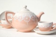 "Custom Order Lace Teapot and 4 Teacups - Choose color, design & style, or use design of your own (artist can also design something for you.) Each teapot is freehand designed and hand-brushed with a glaze paint. Piece is finished with the dotting of white glaze to give the overall lace look.  Approx 9"" x 6"" (23cms x 15.5cms), holds 4 - 8 oz. cups, is food safe, non-microwavable, not for stove top use.  Custom orders can take up to 2 months depending on stock:  Clayful Impressions, Riverside…"
