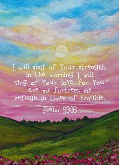 Psalm 59 / Bible Verse Sunrise Print / jolieart