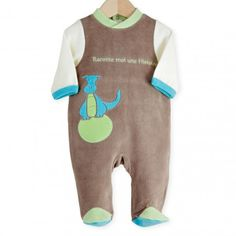 Trop mignon ce pyjama bébé garçon marron et bleu #kinousses #bébé #pyjama #naissance