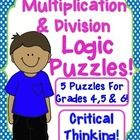 Get over my intense FEAR of math! From the pin creator: I have created 5 logic puzzles that would be appropriate for grades 5 and The cIues require the students to use multiplication and division . Sixth Grade Math, Fourth Grade Math, 4th Grade Classroom, Classroom Ideas, Teaching Math, Teaching Ideas, Math Logic Puzzles, Multiplication And Division, Teacher Tools