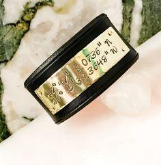 Coordinates Leather Bracelet Personalized by BlueCornerCreasigns