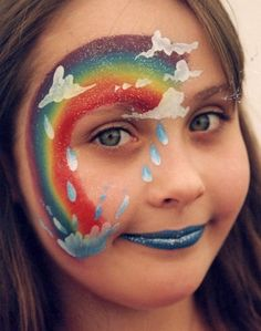 rainbow and rain face painting