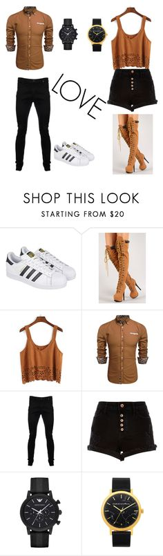 """""""Y+M=LOVE"""" by morroquiina ❤ liked on Polyvore featuring adidas, Vivienne Westwood Anglomania, River Island and Emporio Armani"""