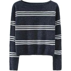 Slim Boat-neck Striped Cropped Jumper (€22) ❤ liked on Polyvore featuring tops, sweaters, shirts, jumpers, boat neck sweater, slim fit sweaters, boat neck shirt, boatneck shirt and crop shirt