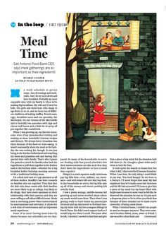 Marilyn Faucher illustrated an article for the November issue of San Antonio Magazine about meal time.