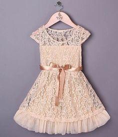 Cream lace dress - ivory girls dress - ribbon - Easter girl dress - toddler girl dress