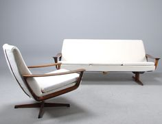 Trensum sofa and easy chair by Johannes Andersen, palisander and cotton, Denmark 1960s