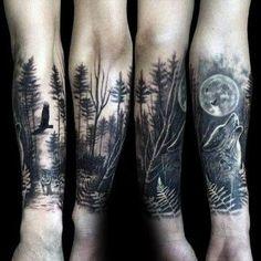 tatuajes media manga sombreados de bosques