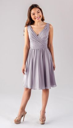 Style your girls in this short chiffon bridesmaid dress that features a flattering V-neckline. Available in colors, shop Kennedy Blue Faith today! Full Skirts, A Line Skirts, Blue Bridesmaid Dresses, Wedding Dresses, Wedding Bridesmaids, Prom Dresses, French Lilac, Pregnancy Stages, Chiffon Fabric