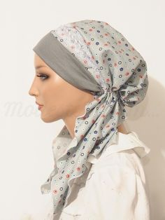 Pre-tied Headband Tichel Bandanna Snood Gray Red-Blue-White Floral Print Lace Braided Trim
