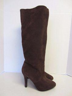 Colin Stuart Boots 10 B Brown Suede Knee High Heels #ColinStuart #KneeHighBoots