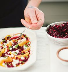Chef Matt DeMille of Eat shares his recipe for Beet And Pomegranate Salad With Oranges, Feta And Mint. Q: My girlfriend recently hosted a kitchen party with Chef Matt DeMille. He taught us how to make amazing dishes, one of which was an incredible pomegranate salad. I've since lost the recipe, but I'd love to make …