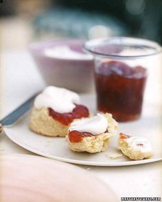 Cream Scones | Martha Stewart Living - Start Mom's day off right with these cream scones. Serve with strawberry preserves and top with whipped cream for a decadent breakfast treat.