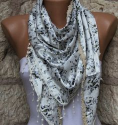 Shawl / Scarf  Headband Necklace Cowl with Lace  by Fatwoman, $17.00