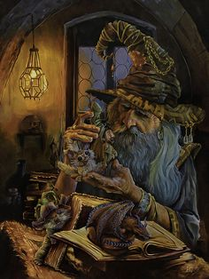 One of the last wizards left in my world. This is an oil painting A most interesting story Dark Fantasy Art, Fantasy Artwork, Fantasy World, Magical Creatures, Fantasy Creatures, Character Art, Character Design, Fantasy Wizard, Dnd Wizard