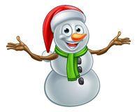 Cartoon Christmas Santa Hat Snowman Stock Image