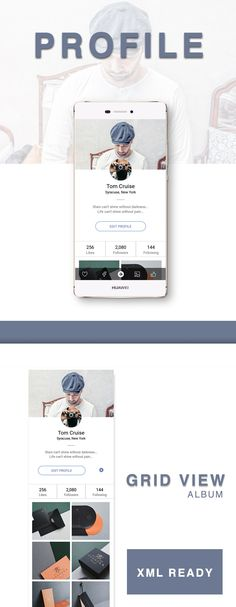 Profile ui kit ready xml easy to download source code from www.wsdesign.in Android App Design, Android Apps, Ui Kit, Can Design, Mobile Design, Coding, Profile, Business Ideas, Template
