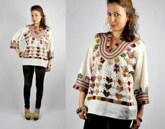 70s Embroidered Blouse Cotton Blouse Top Tunic by ItaLaVintage