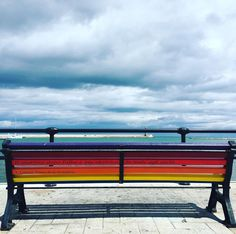 Open your eyes and you will see the #rainbow •|•  #picoftheday #art #bench #colors #clouds #cloud #cloudy #myplace #bari #landscape #sea #seaside #holiday