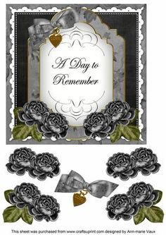 Black Rose Date to Remember Fancy 7in Decoupage Topper on Craftsuprint - Add To Basket!