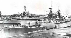 Port Belagrano Arg. HMS Lynx HMS Mounts Bay and HMS Warrior now in Arg. Navy named Independencia 1957