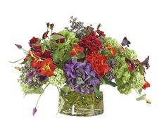 Hydrangea Rose (RF073): Hydrangea Rose, Red Purple Green, Glass Cylinder,27wx24dx16h