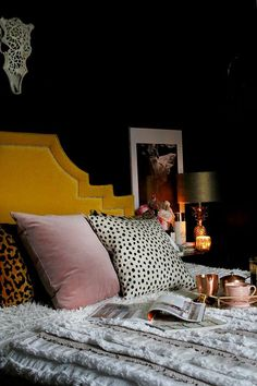 Schlafzimmer/Bedrooms boho glam bedroom in black yellow and blush pink The 1 2 Of Sound Proof Pa Glam Bedroom, Home Decor Bedroom, Diy Home Decor, Bedroom Ideas, Dark Furniture Bedroom, Girls Bedroom, Dark Cozy Bedroom, Tribal Bedroom, Dark Bedrooms