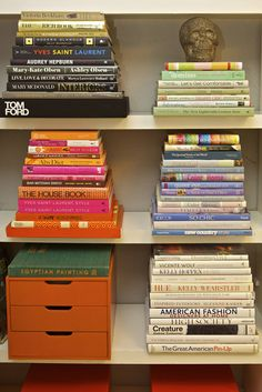 colour coordinated books...  Quick Fix for my Office Shelves...