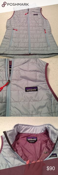 Patagonia Women's Nano Puff Vest Like new women's Patagonia nano puff vest size medium. The vest is a pretty light blue with some purple piping around the arms. Worn once! Rare color! I'm always willing to negotiate on reasonable offers! Patagonia Jackets & Coats Vests