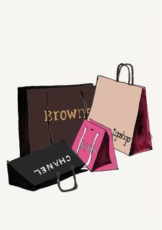 Fashion Illustration Print, Chanel and designer shopping bags, pink, black and brown, by Helen Simms