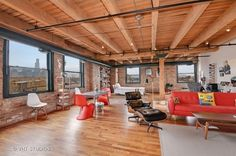 The home features an open layout with sweeping views of the Chicago skylineLocated on the fifth floor of a converted 1884 industrial West Town warehouse, this warm and rustic brick and timber loft could be the perfect blank canvass for a single buyer looking for an open, flexible space.