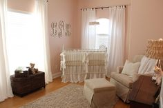 Elegant, vintage antique white and pink nursery for a baby girl, Lily Kate. To see Lily Kate's pretty pink and antique white nursery decor in all its perfection you would think that every detail had been carefully laid out according