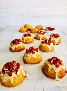 Orange and Banana Cakes with Pomegranate Seeds (Gluten Free)
