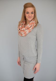 Magnolia Boutique Indianapolis -  Long Sleeve Knit Tunic Dress-Heather Grey, $39.00 (http://www.indiefashionboutique.com/long-sleeve-knit-tunic-dress-heather-grey/)