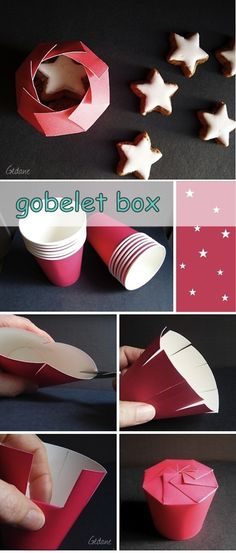 make a box from a cup...cute idea for party favors