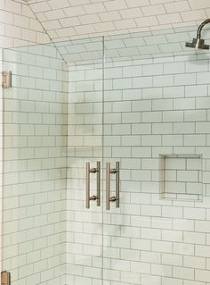 White Subway Tiled Shower, Double Door Glass Shower Door with Nickel Hardware White Subway Tile Shower, Subway Tile Showers, Glass Shower Doors, Glass Door, New Carpet, Wind Chimes, Hardwood Floors, Photo Galleries, Area Rugs