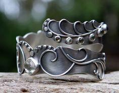 The Dreamer's Bracelet - prasiolite, phantom green quartz and sterling silver bracelet