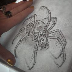 Lessons That Will Get You In The arms of The Man You love Creepy Tattoos, Skull Tattoos, Body Art Tattoos, Sleeve Tattoos, Spider Drawing, Spider Art, Stencils Tatuagem, Tattoo Stencils, Dark Art Drawings