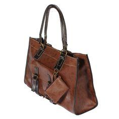 Large Capacity PU Leather Handbag Shoulderbag Messenger Bag Brown