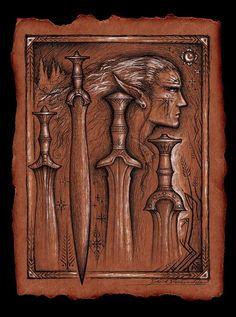 ✯ Aelfwine's Foresight :: From Cedarlore Forge Artist David DelaGardelle ✯ #swords #artist www.cedarloreforge.com