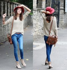 oatmeal white sweater, blue denim jeans, brown mulberry bag