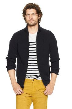 Mustard Cords, Navy and Stripes. Clean.