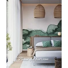 Bedroom Decor, Beautiful Bedrooms, Bedroom Green, Guest Bedroom Design, Tropical Bedrooms, Home, Interior Design Living Room, Bedroom Night Stands, Guest Bedrooms