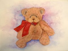 Christmas sale on original watercolor painting Teddy by Teepots