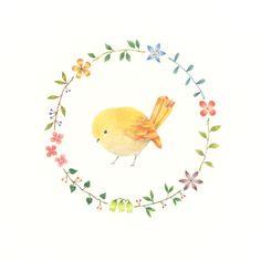 """Little Yellow Bird and Wreath"" −RiLi, picture book, illustration, design…"